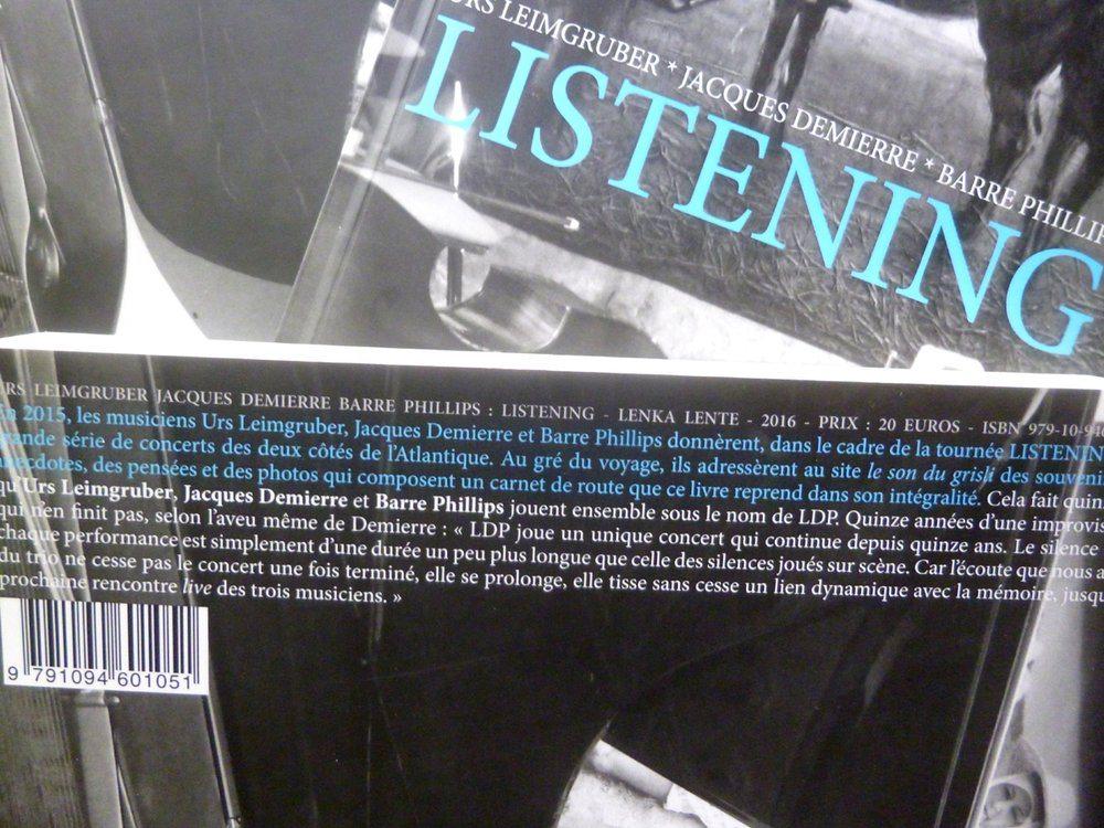 Listening d'Urs Leimgruber, Jacques Demierre et Barre Phillips par Lenka Lente